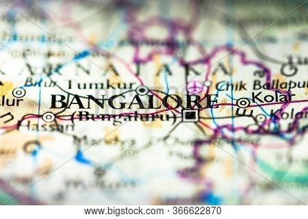 Shallow Depth Of Field Focus On Geographical Map Location Of Bangalore Bengaluru City In Karnataka I