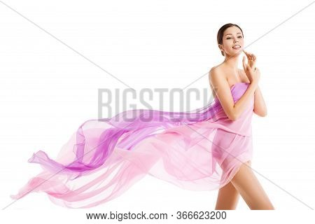 Woman Body Beauty, Beautiful Girl In Fluttering Silk Pink Cloth On White, Health And Skin Care Conce