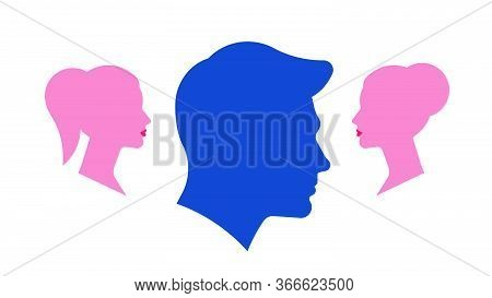 Love Triangle. Silhouettes Of Man And Women. The Concept Of Lies, Treason, Betrayal, Distrust, Rumor