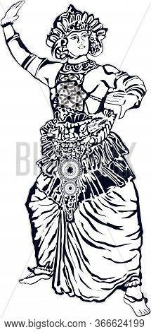Traditional Sri Lankan Kandyan Dancer Digital Recreation Illustrator
