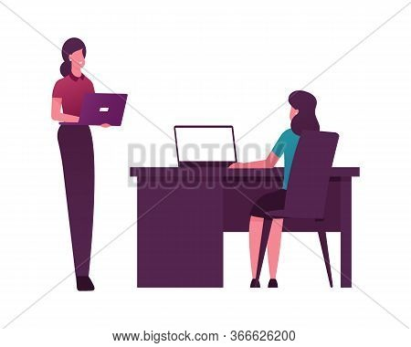 Female Character With Notebook Sitting Desk Work On Computers With Quantum Technology. Quantum-mecha