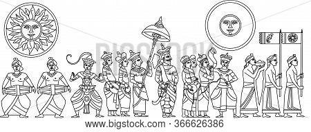 Historical Traditional Sri Lankan Kandy Perahara Illustrator