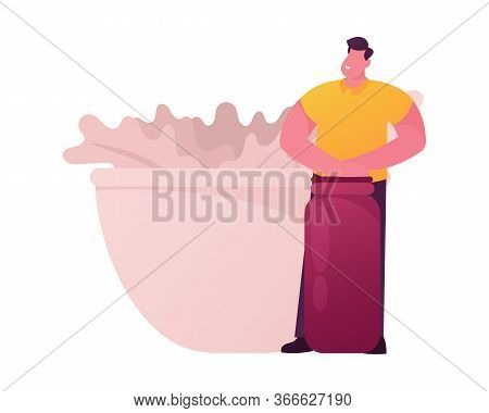 Male Character Hold Huge Flask Stand At Bowl With Bunch Of Herbs For Perfume Or Essential Oil Creati