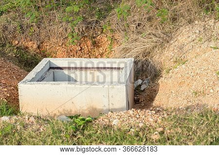 Concrete Construction Tube Pipe. Building A Road Sewer Drain System. Sewer Construction. Build A Roa