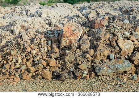 Red Laterite Gravel Texture. Can Be Use To Background, Wallpaper, Template, Screensaver ,copy Space,