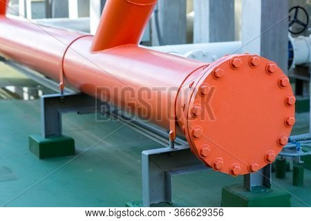 A Metal Pipe With A Blank Flange Shutting Off The End. Water Steel Flange Pipe Fitting The Blind Fla