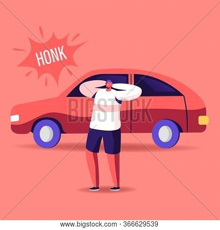 Male Character Cover Ears To Stop Hearing Car Honk, Loud Sounds And Tinnitus. Man Suffering Of Noise