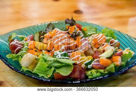 Japanese Spicy Salad Sashimi Salmon With Premium Fresh Raw Salmon. Asian Salad With Tofu And Fresh V