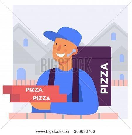 Flat Stylized Illustration Of A Pizza Delivery Man