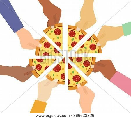 Top View Of People Hands Taking Pizza Slices On White Background - Vector Illustration