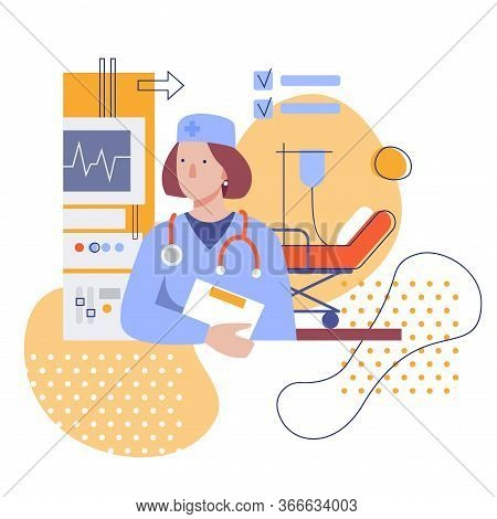 Female Doctor In The Clinic. Flat Stylized Illustration