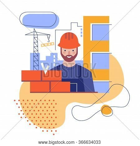 The Builder Builds A Brick Wall. Flat Stylized Illustration