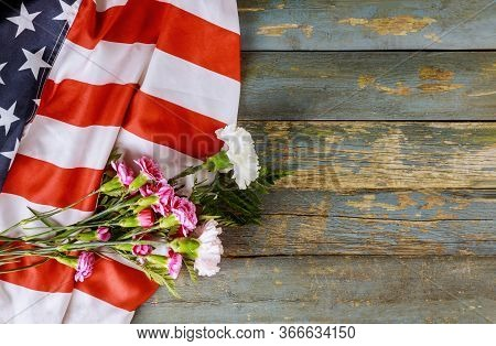 Remembrance Pink Carnation Flowers For Memorial Celebration Day With American Flag