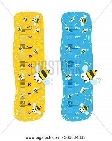 Meter Wall Or Height Meter Set With Funny Bees