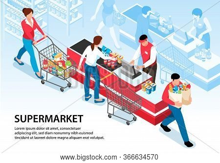 Supermarket Horizontal Poster With Buyers Driving Pushcarts With Groceries To Cash Desk Vector Illus