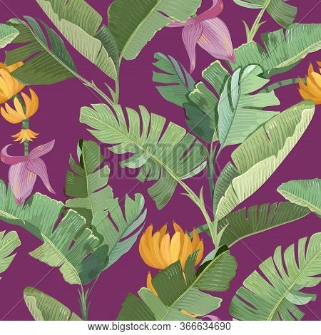 Seamless Print With Green Tropical Banana Palm Leaves, Flowers, Fruits And Branches On Purple Backgr