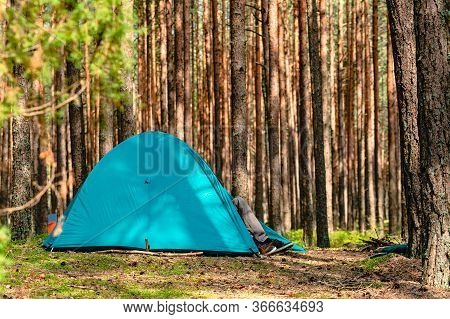 Hiking Travel Life Style Passion Concept Picture Of Tent Camp Side Place In Forest, Hiking Concept A