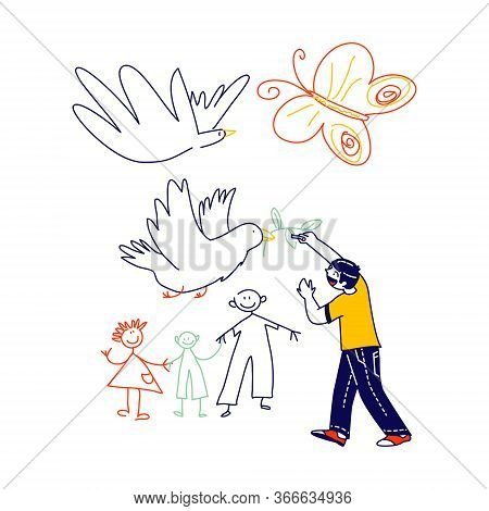 Little Boy Drawing Doves With Branch And Happy Family. Child Character Painting On White Wall, Inter