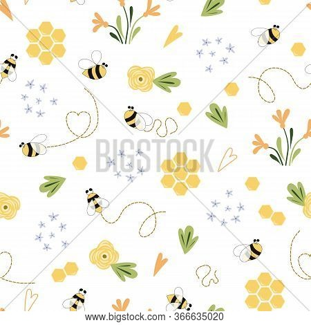 Bee Honey Pattern Bee Floral Yellow Template Bee Seamless Pattern Cute Honey Templates Digital Paper