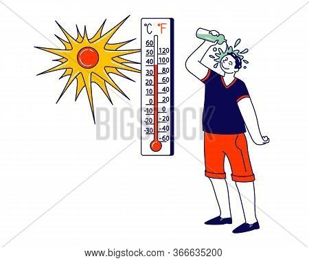 Man Pouring Water From Bottle On Head Avoiding Heat Stroke Under Fierce Heating Sun Rays. Male Chara