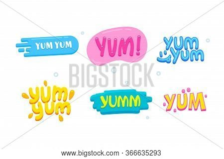 Yum Yum Icons Set. Creative Banners With Colorful Typography And Design Elements. Text Composition I