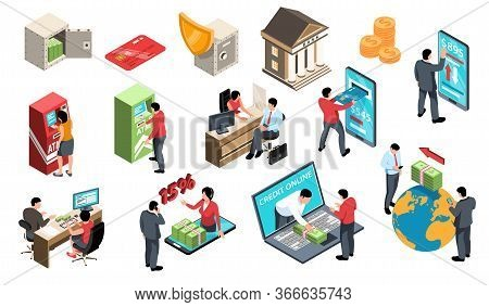 Isometric Bank Set Of Isolated Icons With People Interacting With Atms And Online Services With Mone