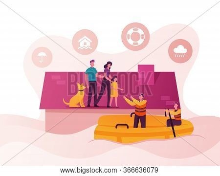 Family Characters Need Help At Flood. Man, Woman, Little Girl And Dog Stand House Roof, Rescues On B