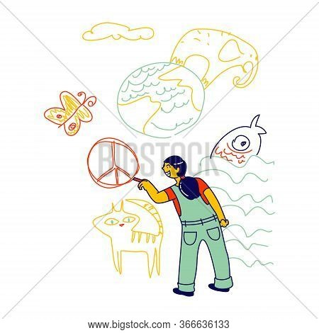 International Kids Day Or Peace Day Concept. Little Dark Skin Girl Drawing Peace Symbol, Animals And
