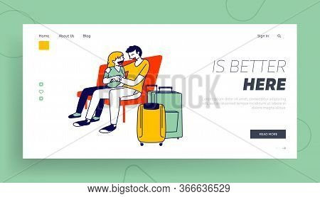 People Waiting For Airplane Boarding Landing Page Template. Couple Hugging On Bench In Airport Termi