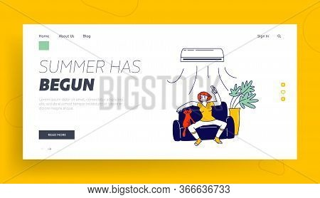 Summertime Season Heating Landing Page Template. Woman Suffering Of Heat Use Conditioner. Girl Chara