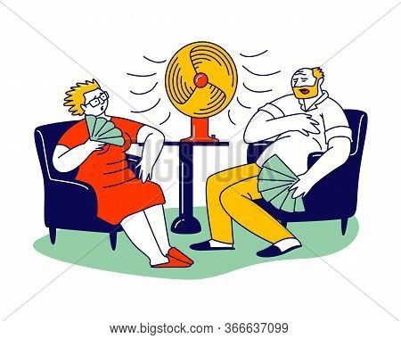 Summer Hot Period Of Time Concept. Sweltering In Heat Aged People Characters Sitting On Sofa Use Fan