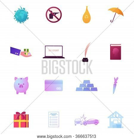 Set Icons Earth With Animals Species, Hunting Prohibition Sign, Recycling Bag And Umbrella. Hand Wit