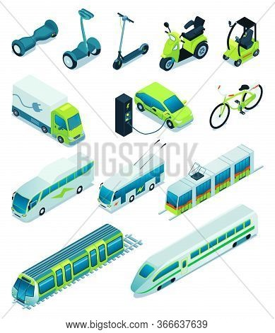 Isometric Electric Transport Ecology Friendly Vehicle Icon Set With Bicycle Scooter Car Scooter Trol