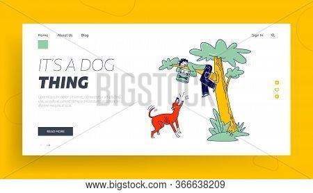 Dog Attack Landing Page Template. Scared Handyman With Toolbox In Hands Sit On Tree. Angry Animal Ba