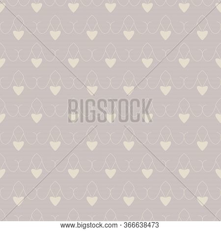 Seamless Pattern With Little Hearts. Color Grey And Cream Ivory. Pastel Colors. Vector.