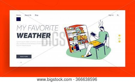 Heat Stroke, Extremal Heating Landing Page Template. Male Character Sweating Sitting At Home With Op