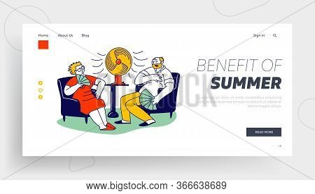 Summer Hot Period Of Time Landing Page Template. Sweltering In Heat Aged People Characters Use Fans