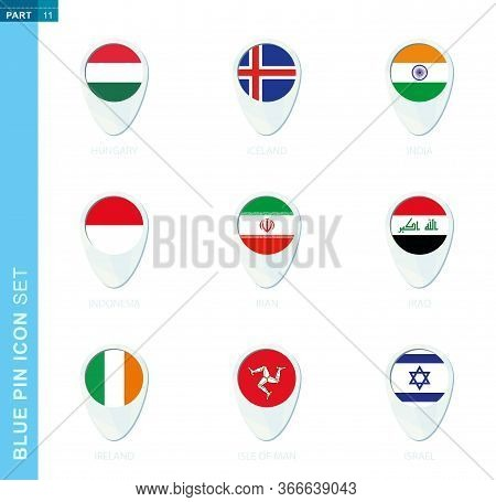 Pin Flag Set, Map Location Icon In Blue Colors With Flag Of Hungary, Iceland, India, Indonesia, Iran