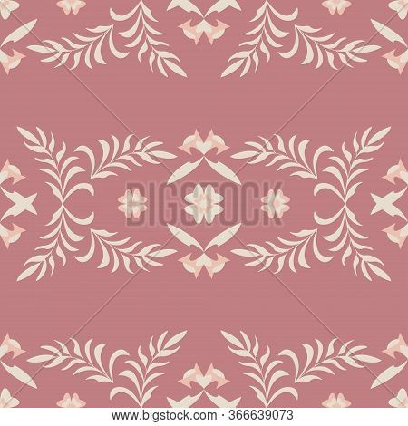 Seamless Pattern Flower And Leaf. Color Red. Pastel Colors. Vector.
