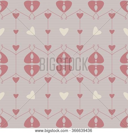 Seamless Pattern With Hearts And Little Hearts. Color Grey, Cream Ivory And Red. Pastel Colors. Vect