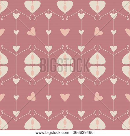 Seamless Pattern With Hearts And Little Hearts. Color Red, Orange And Cream Ivory. Pastel Colors. Ve