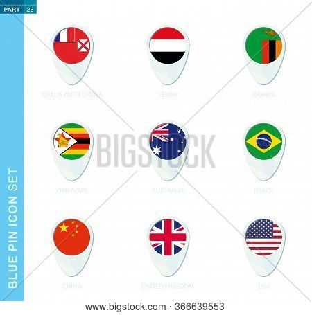Pin Flag Set, Map Location Icon In Blue Colors With Flag Of Australia, Brazil, China, Uk, Usa, Walli