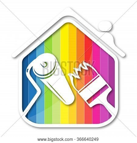 Paint Brush And Roller In Hand Painting House Symbol For Business