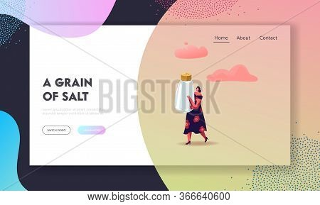 Cute Woman Holding Huge Salt Shaker Landing Page Template. Cooking And Concept. Female Character Wit