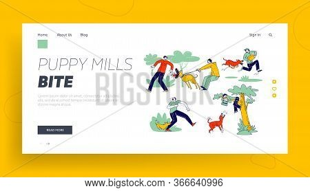 Dog Attack Landing Page Template. Aggressive Animals Biting And Barking On Male Characters. Delivery