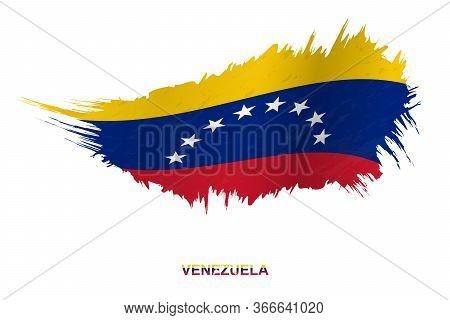Flag Of Venezuela In Grunge Style With Waving Effect, Vector Grunge Brush Stroke Flag.