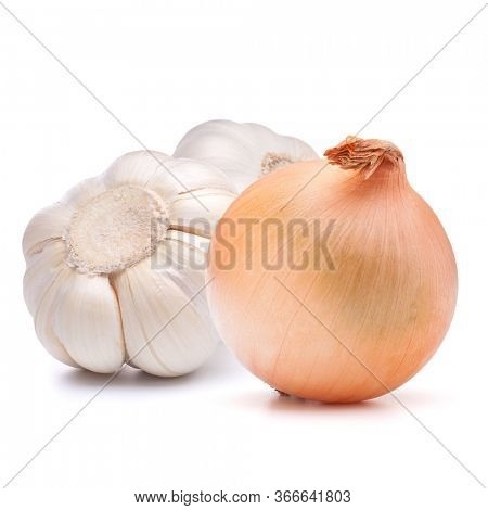 Isolated vegetables. Onion, garlic isolated on white background