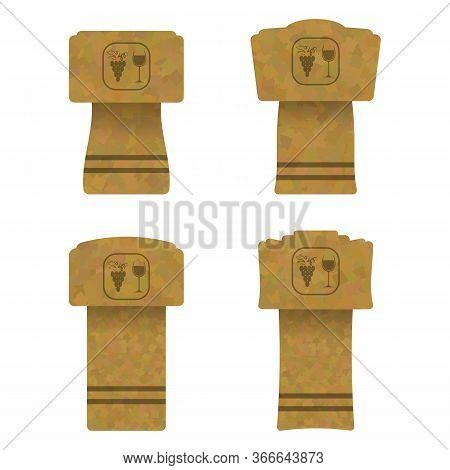 Set Of Different Wine And Champagne Traditional Cork Isolated On White Background. Realictic Bottle