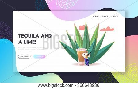 Mexican Culture Tourism, Latin Landmark Landing Page Template. Tiny Male Character Wearing Sombrero