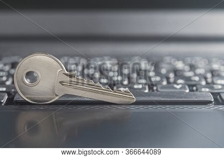 Key Lock On Pc Keyboard. Сoncept Of Computer Security And Protection Of Personal Data On Internet.